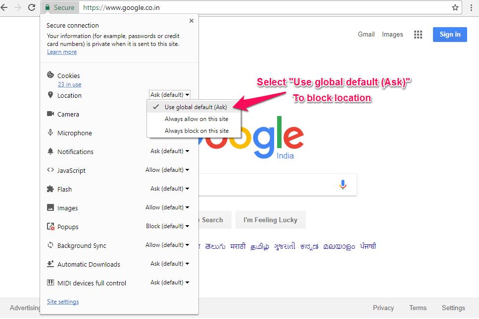 Chrome to block Geolocation | ByteNbit