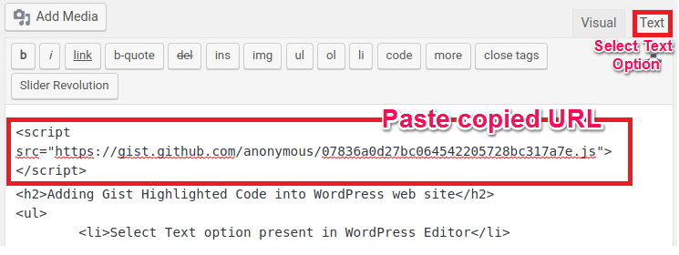 Adding Github Gist in WordPress