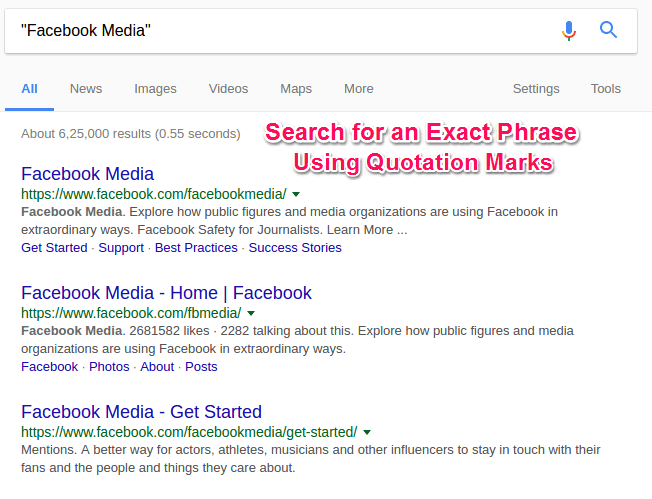 Search For an Exact Phase in Google Search Engine