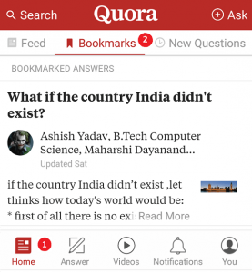 Bookmark option in Quora App