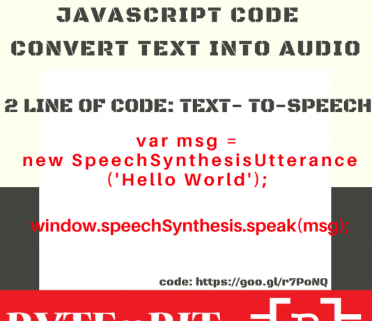 JavaScript Code: Convert Text to Audio