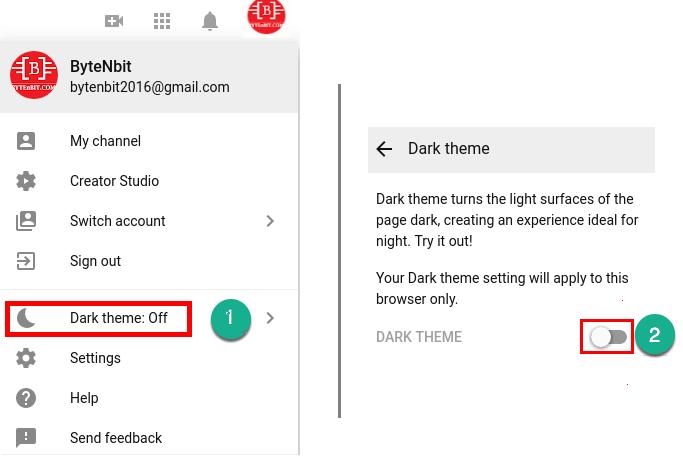 Dark theme option